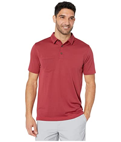 Linksoul LS1119 Dry-TEK Poly/Cotton Striped Polo w/ Pocket (Currant) Men