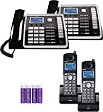 RCA 25260 2-Line Expandable Phone System - Full Duplex Telephone with Built-in Intercom (2-Pack) Bundle with RCA 25055RE1 DECT 6.0 Cordless Accessory Handsets (2-Pack) and 4 Blucoil AA Batteries