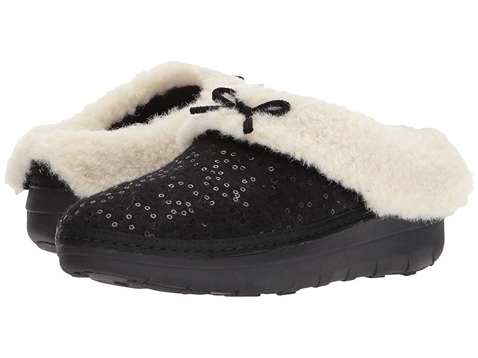 FitFlop Loaff Snug Sequin Slipper (Black 1) Women