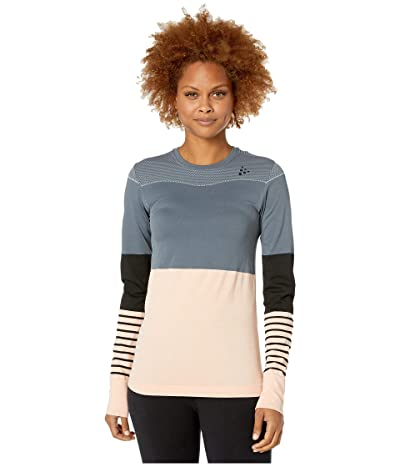 Craft Fuseknit Comfort Blocked Round Neck Long Sleeve (Asphalt/Touch) Women
