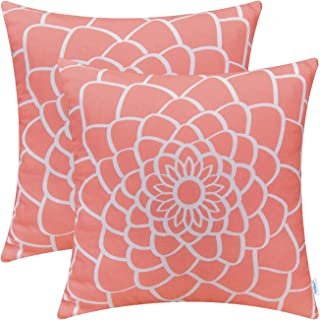 CaliTime Pack of 2 Soft Canvas Throw Pillow Covers Cases for Couch Sofa Home Decor Dahlia Floral Outline Both Sides Print 18 X 18 Inches Coral Pink