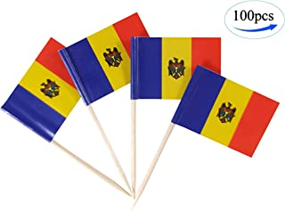 JBCD Moldova Flag Toothpicks Moldovan Flags 100 Pcs Cupcake Toppers Flag Tooth picks Small Mini Stick paper flags Picks Party Celebration Cocktail Food Bar Cake Flags