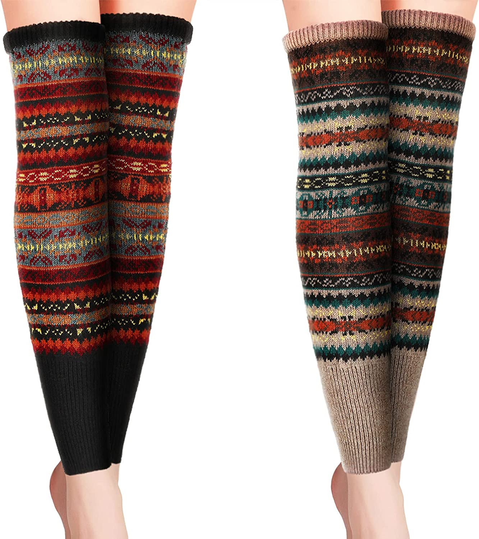 HooLing 2 Pairs Bohemian Long Leg Warmers Winter Ribbed Women Knee High Socks Boho Striped Leg Socks