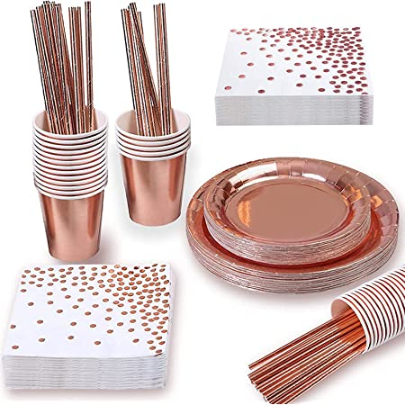 Yidaxing 146 PCS Vaisselle de Fête en Or Rose, Vaisselle d'anniversaire Jetable Assiettes Tasses Serviettes et Nappes Fête Mariage Anniversaire Anniversaire(24 invités)