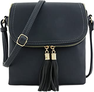 f2901274cc3a Flap Top Double Compartment Crossbody Bag with Tassel Accent