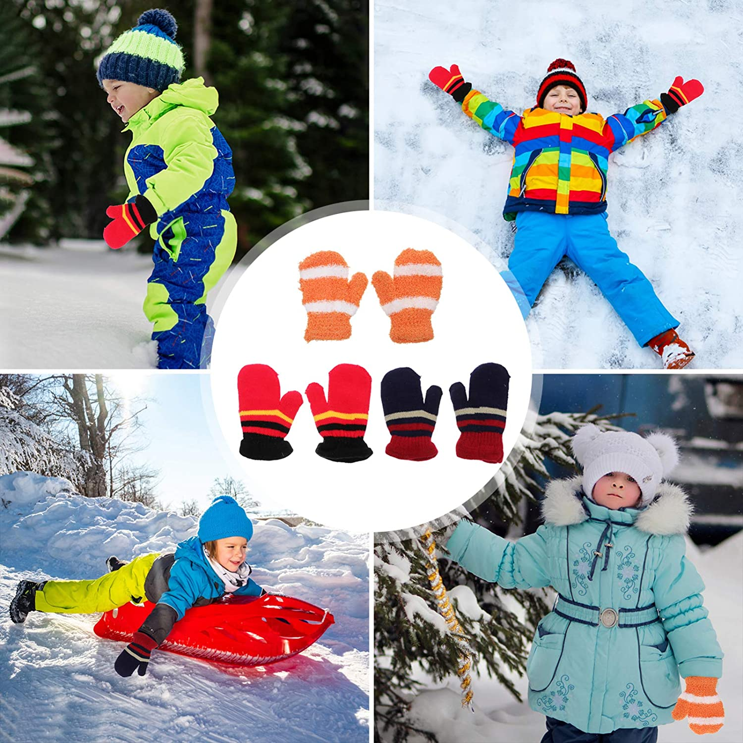 VALICLUD 3 Pairs Kids Winter Gloves Acrylic Fibers Knit Mittens Warm Plush Stretchy Knit Gloves for Toddler Baby Girls Boys Christmas New Year Gifts Mixed Color