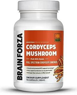 Brain Forza Organic Cordyceps Sinensis Mushroom for Energy & Endurance Support, 90 Capsules
