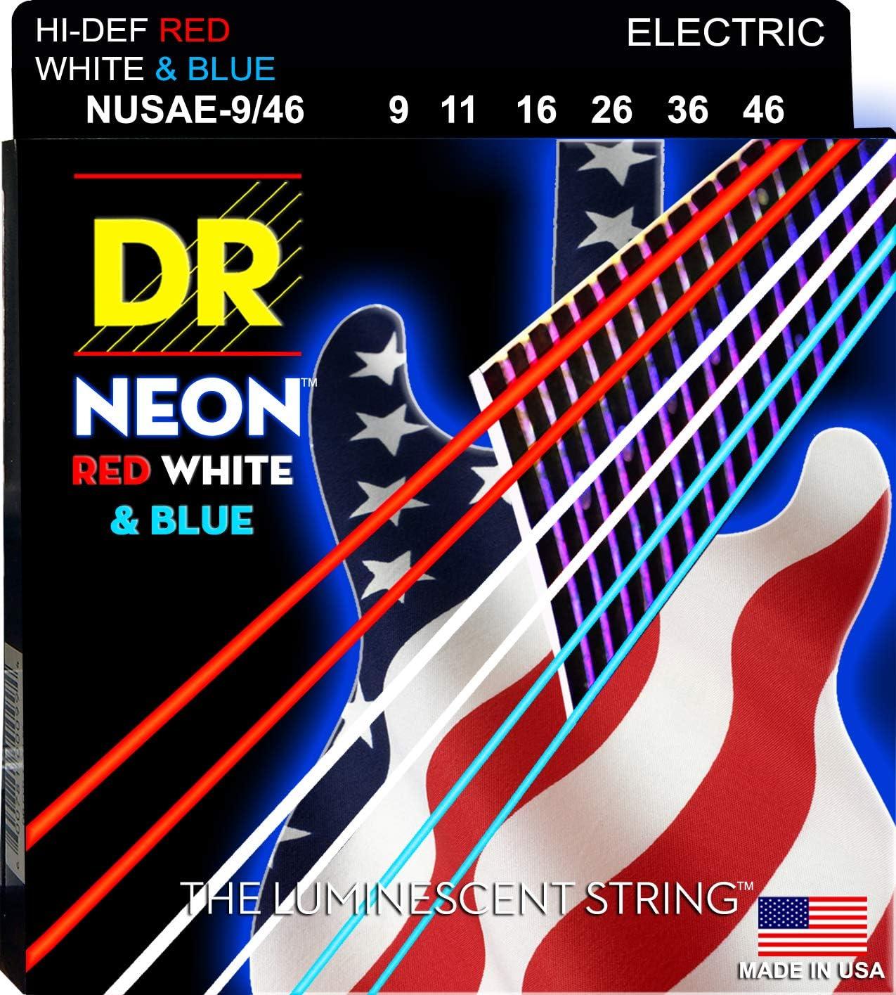 DR Strings Guitar Regular dealer Electric Neon Blue Lig White Red 09-46 Boston Mall