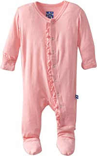 Baby Girls Newborn Print Ruffle Footie