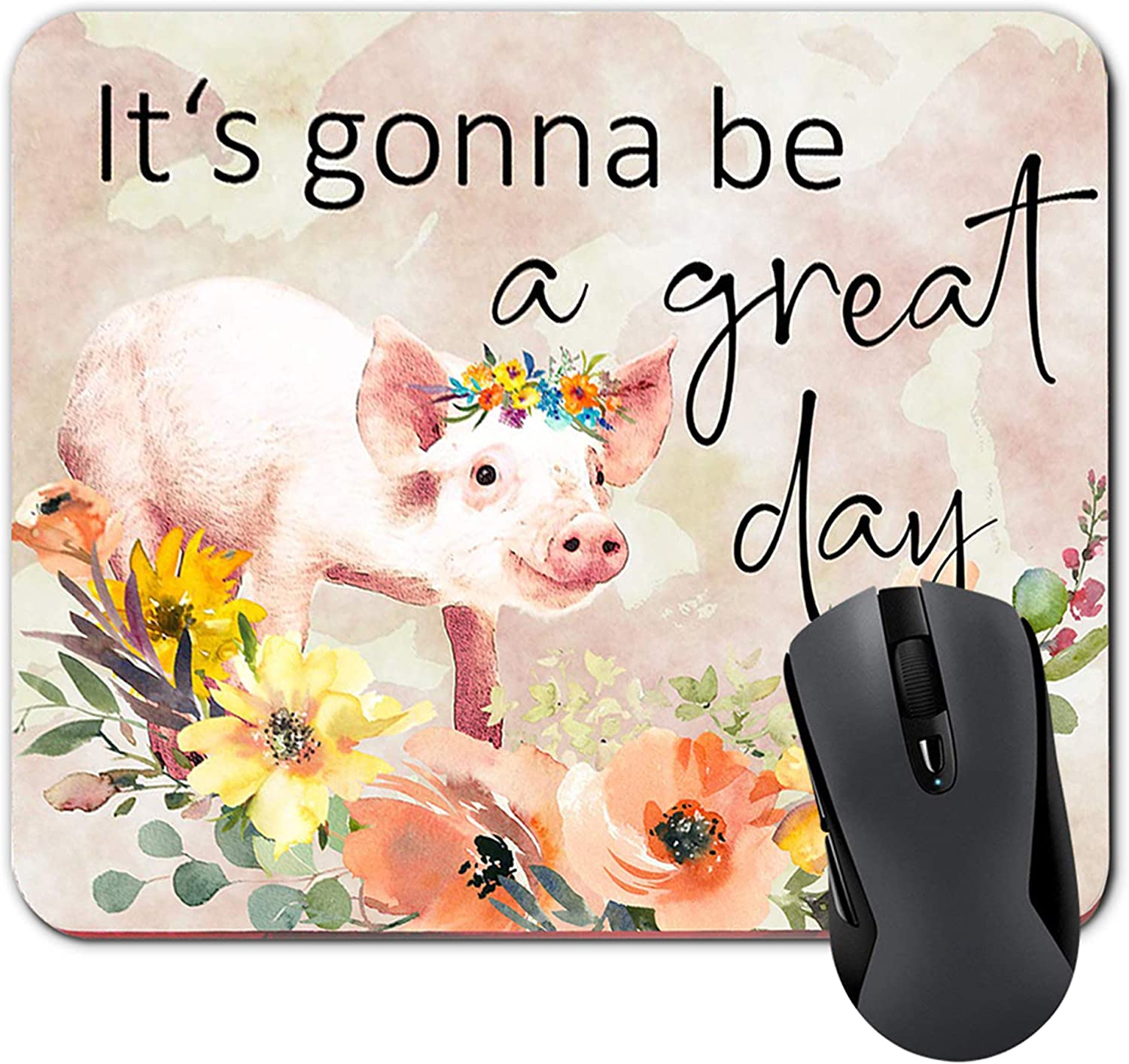 It's Gonna Be A Great Outstanding Day Funny Orange Pad Pig and Quote Y Super sale Mouse