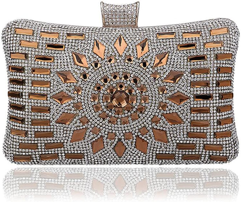 EPLAZA Women Rhinestone Beaded Evening Clutch Bags Bling Crystal Wedding Purse Handbags