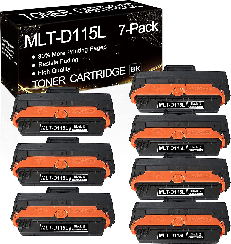 [High Yield] 7 Pack Black MLT-D115L D115L 115L Compatible Toner Cartridge Replacement for Xpress M2830DW Xpress M2880FW Xpress M2880XAC Xpress M2620 Printers Toner