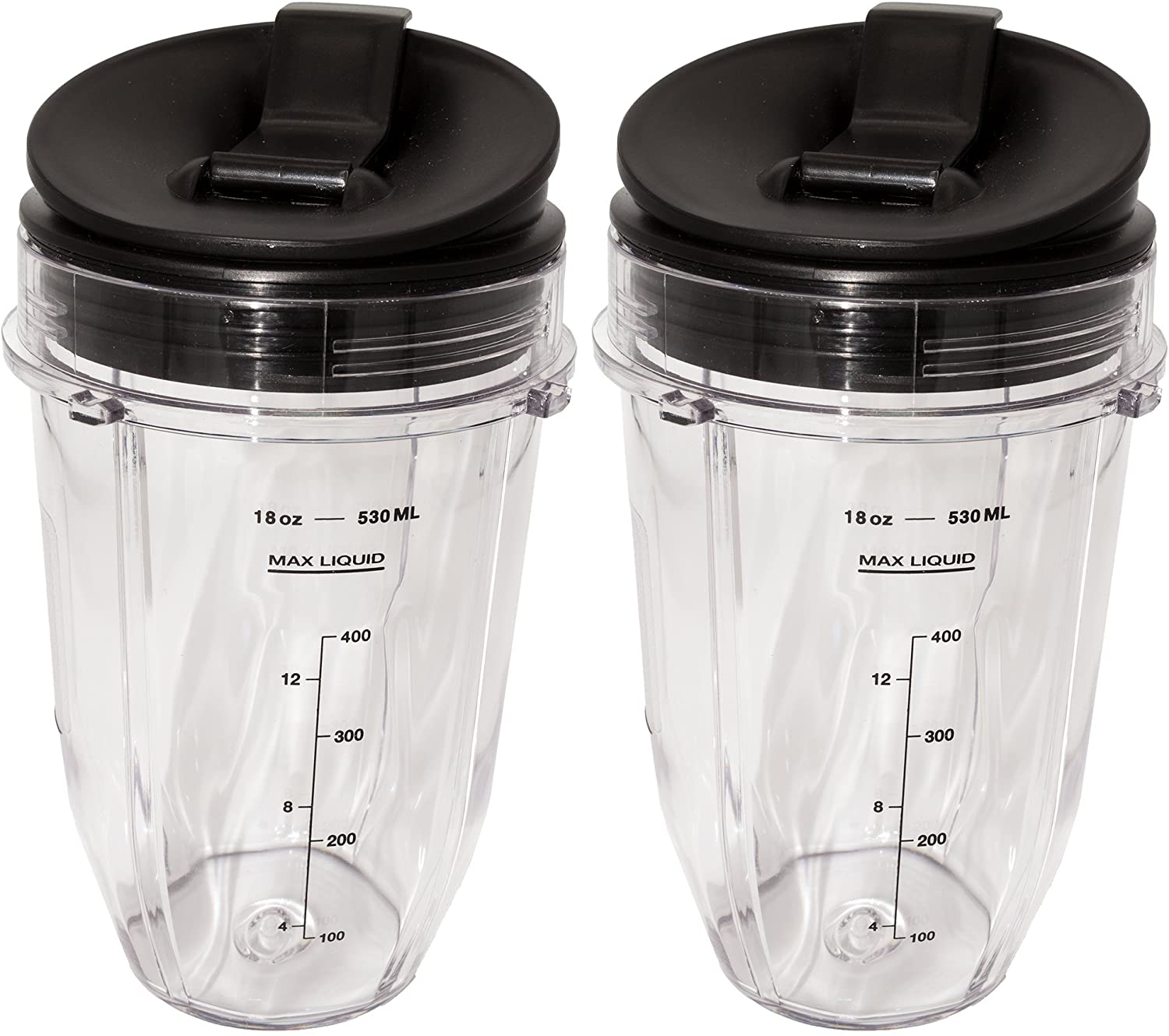 Blendin 2 Pack Small 18 Ounce Cup with Sip N Seal Flip Lids, Compatible with Nutri Ninja Auto-iQ 1000w Series and Duo Blenders
