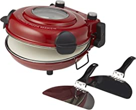MasterPro The Ultimate Pizza Maker and Oven with Window, Cooks Stone Oven Pizza in 5 Minutes, Heats to 400°C, 1200W Motor, 2 Lifting Paddles and Ceramic Baking Stone Included, 38.5x3x19cm - Red