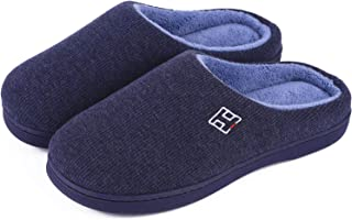 HomeIdeas Men's Classic Memory Foam Plush House Slippers, Autumn Winter Breathable Indoor/Outdoor Shoes