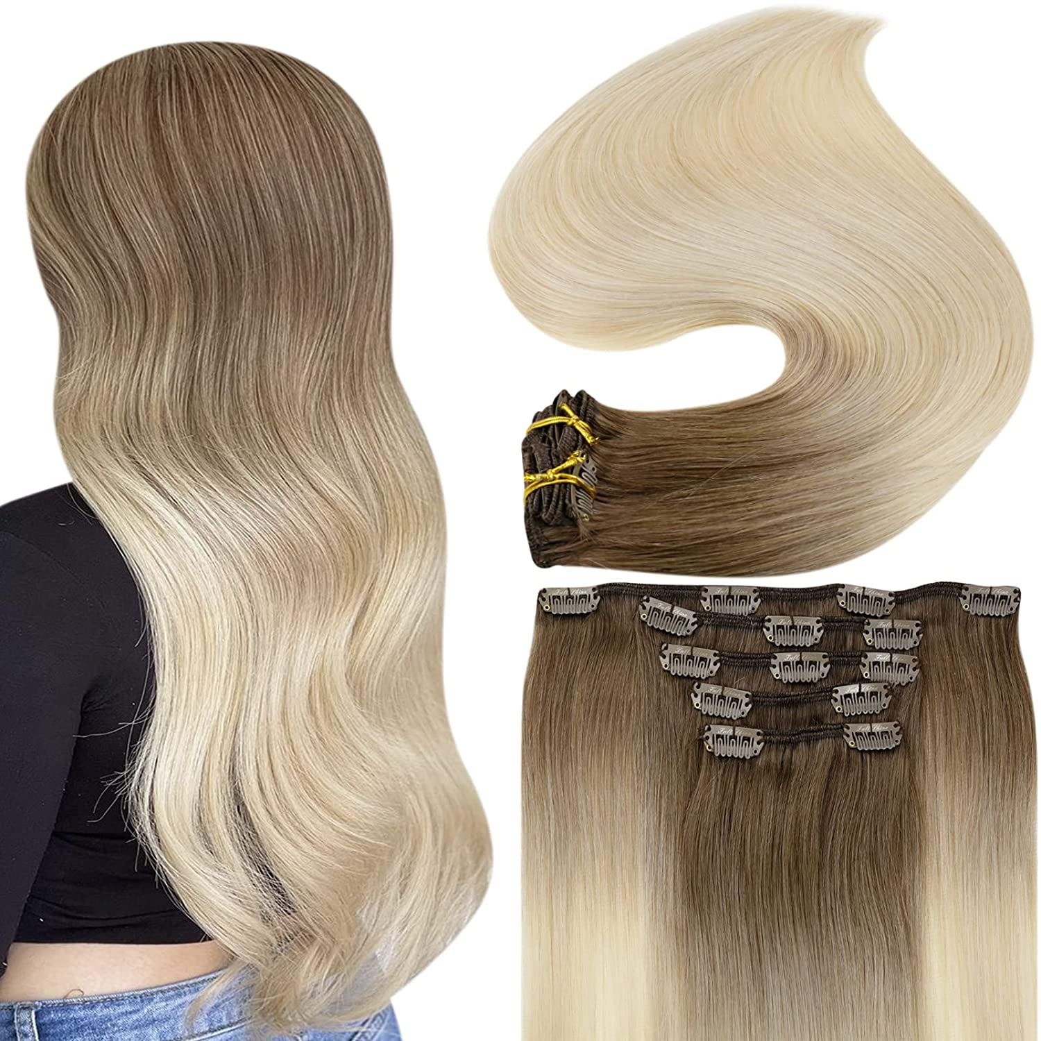 Fshine 5 Max 61% OFF ☆ very popular Clip in Hair Extensions Brown Light Human Fading to