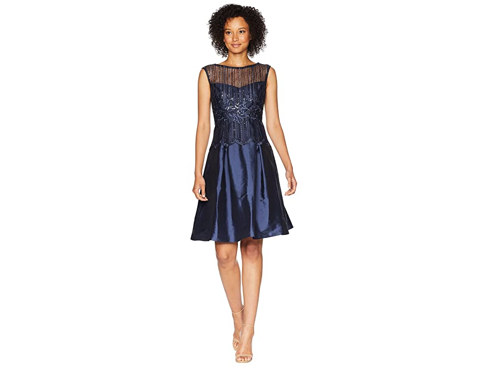 Adrianna Papell Beaded Fit N Flare Cocktail Dress (Midnight) Women