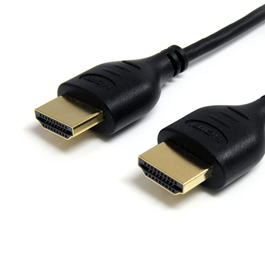 StarTech.com 3 ft Slim High Speed HDMI Cable with Ethernet - Ultra HD 4k x 2k HDMI Cable M/M - 3ft Slim HDMI Cable - 3ft HDMI Cable
