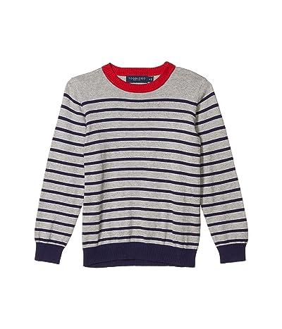 Toobydoo Striped Sweater (Toddler/Little Kids/Big Kids) (Grey/Navy) Boy