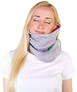 trtl Pillow Plus, Travel Pillow - Fully Adjustable Neck Pillow for Airplane Travel, Car, Bus and Rail. Includes Water...