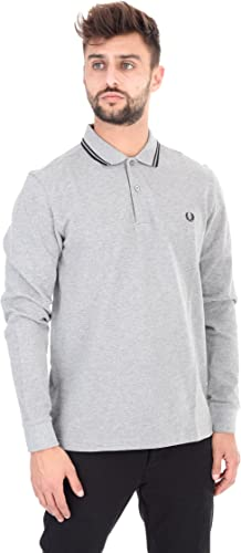 Frouge PERRY - Polo - Homme - Polo Classic Slim Fit Manches Longues gris pour homme