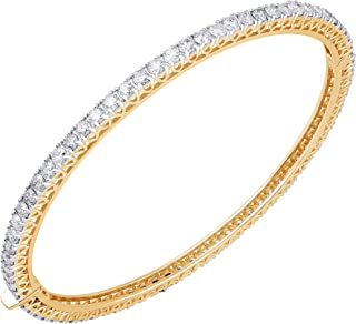 IGI Certified 5.00 Carat Natural Diamond Bangle 18K Yellow Gold (H-I Color, I2-I3 Clarity) Diamond Bangle for Women Diamond Jewelry Gifts for Women
