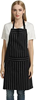 Jennice House Chef Aprons Professional Kitchen Chef Works Chalk Stripe Bib Apron with Pockets Adjustable Neck Strap Long Waist Ties 100% Pure Cotton Apron in Large Size (Black)