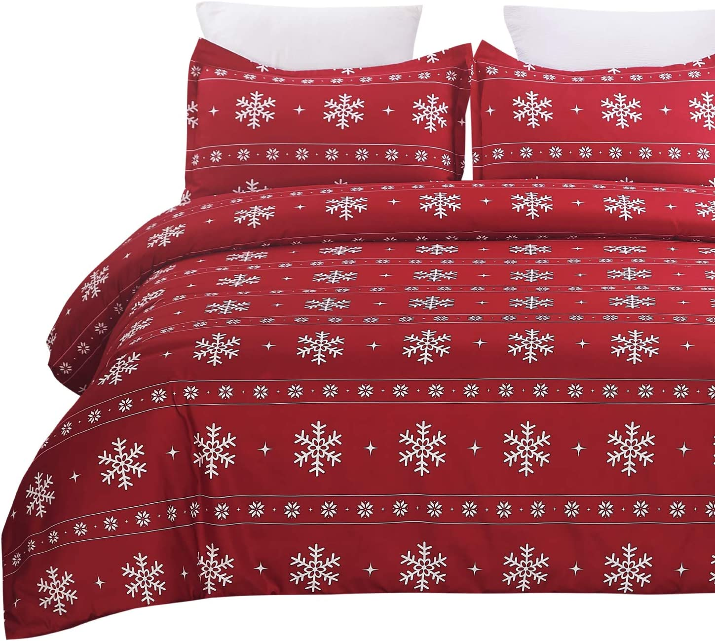 Vaulia Lightweight Microfiber Duvet Cover Set, Snowflake Pattern Design for Christmas New Year Holidays, Red Color - Queen Size : Home & Kitchen