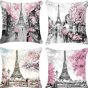 Decorative Paris Lovers Throw Pillow Covers 18x18 Oil Painting Paris Pillow Case Cotton Linen for Girls, Sofa, Couch, Patio, Porch Home Pink Paris Decoration Set of 4