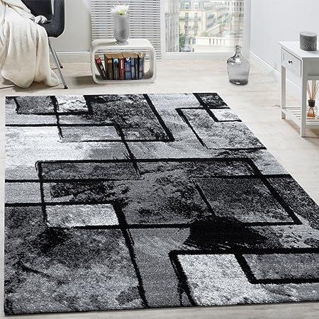 Paco Home Tapis Design Moderne Poils Ras Abstrait Peintures Effet Noir Gris Anthracite, Dimension:160x230 cm