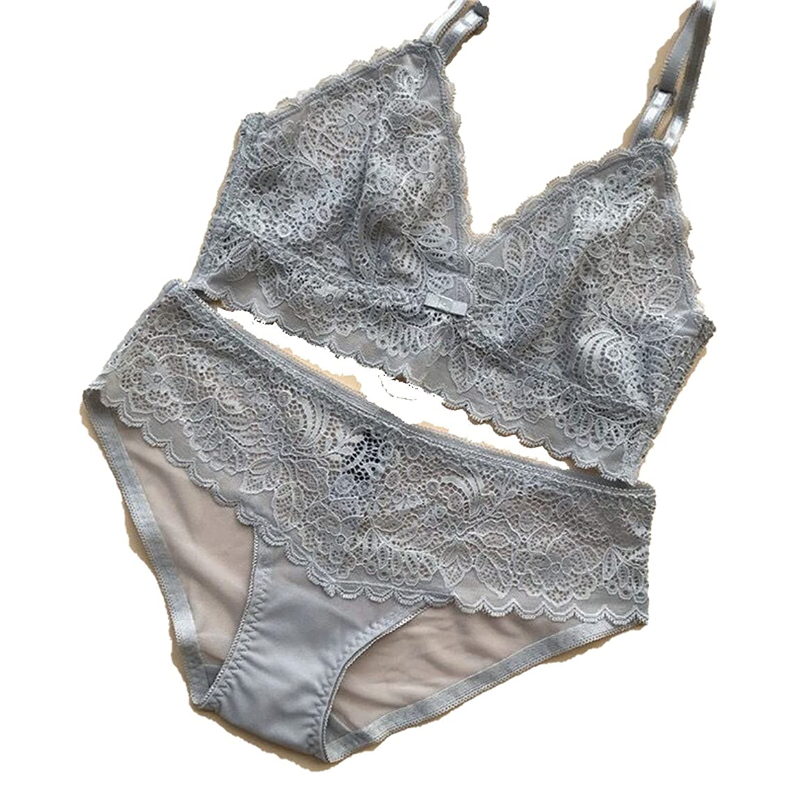 New Ultra-Thin Rimless Sexy Lace Bra Set Perspective Unbound Triangle Cup Underwear