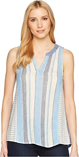 Baja Stripes on Stripes Sleeveless Top with Chambray Back