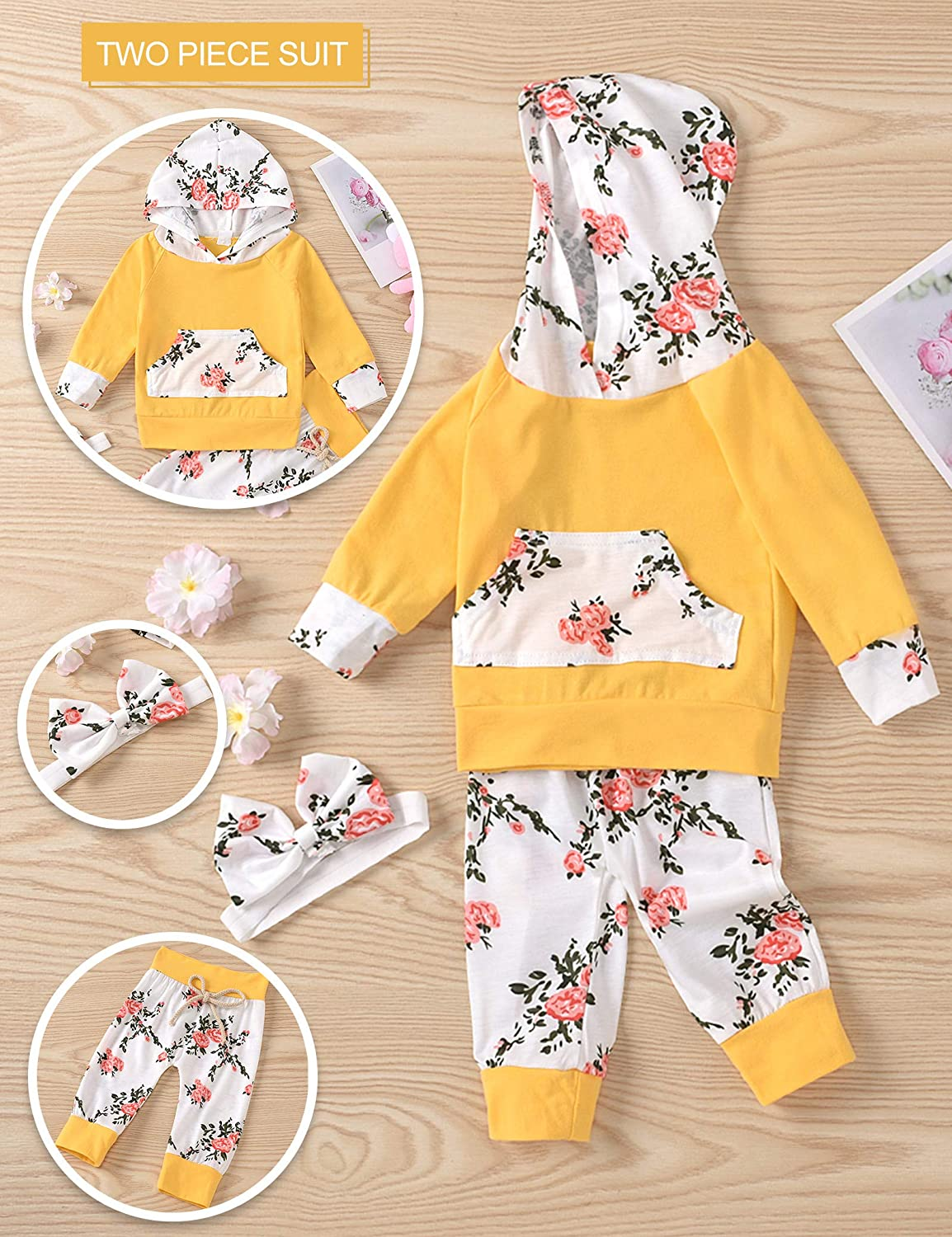 Baby Girls Long Sleeve Flowers Hoodie Tops and Pants Outfit with Pocket 18-24 Months