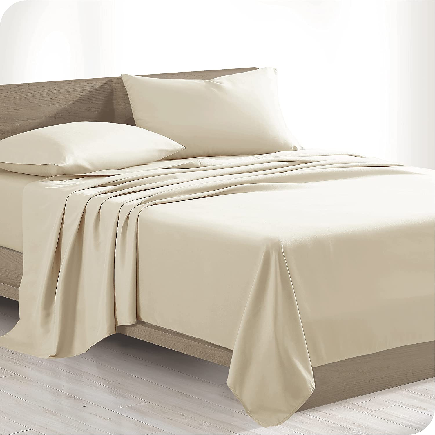 Bare Home 100% Organic Cotton Twin Sheet Set - Crisp Percale Weave - Lightweight & Breathable - Bedding Sheets & Pillowcases (Twin, French Beige)