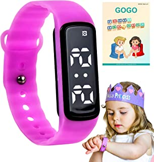 GOGO Potty Training Watch - Water Resistant Timer and Child Reminder- Toilet Trainer Alarm Watches for Boys, Girls, Kids and Toddlers with a Soft Pink Purple Strap and Adjustable Alerts