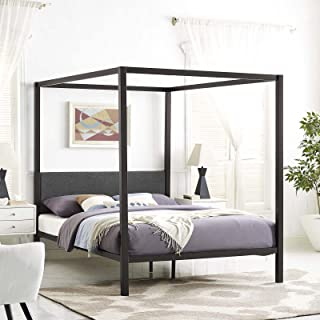 Modway Raina Metal Queen Canopy Bed Frame With Upholstered Gray Fabric Headboard in Brown Gray