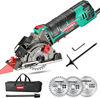 Mini Circular Saw, HYCHIKA Circular Saw with 3 Saw Blades, Laser Guide, Scale Ruler, 500W Pure Copper Motor, 4500RPM Ideal...