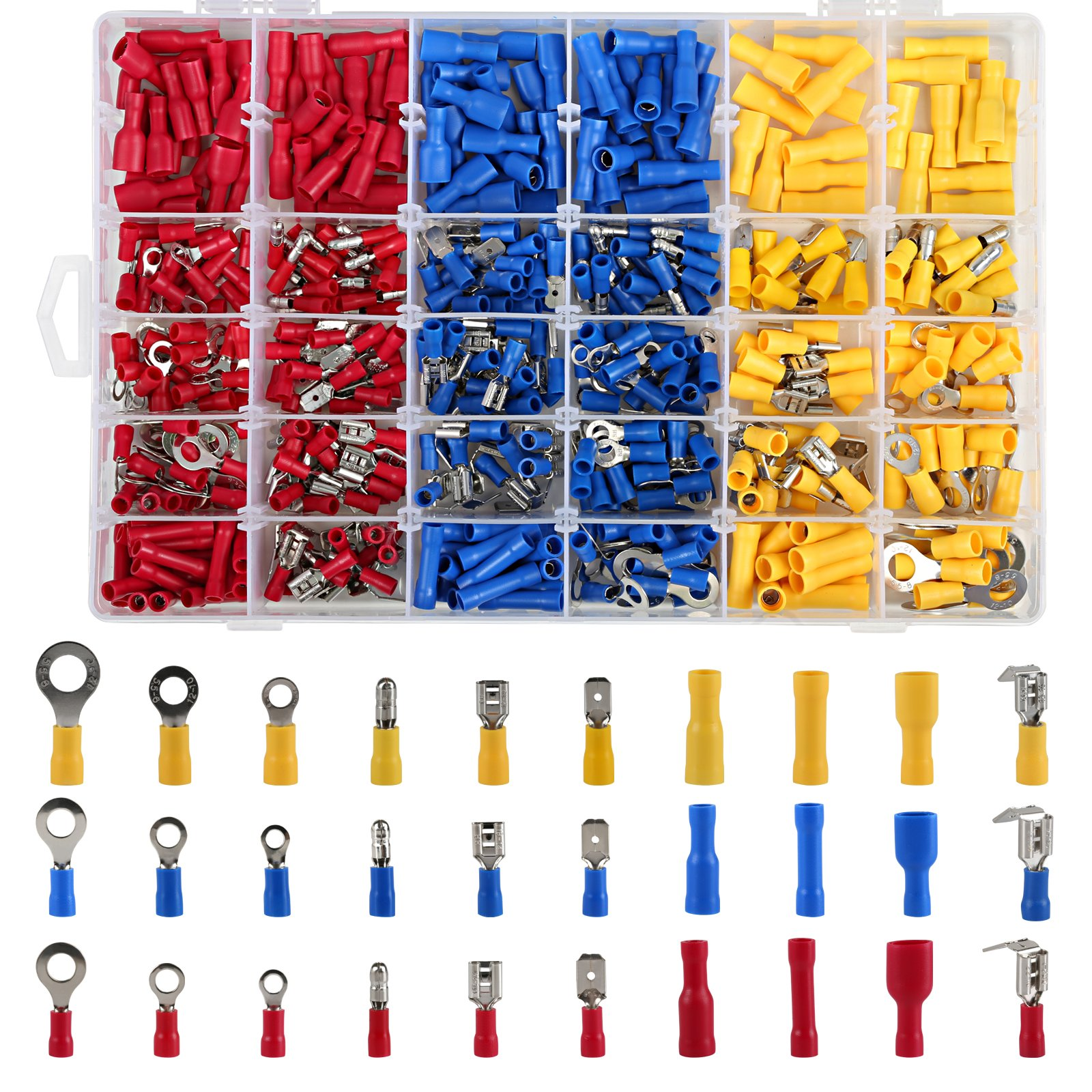 LIHAO Juego de Conectores Eléctricos Aislados Terminales de Alambre con Caja (480 Piezas, 3 Colores): Amazon.es: Bricolaje y herramientas