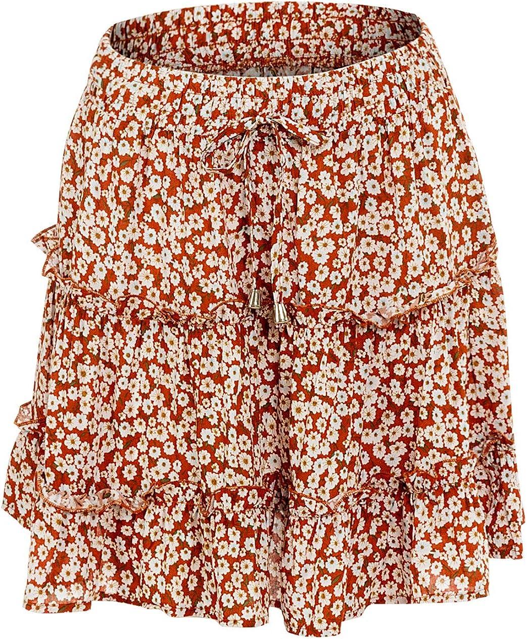 Springrain Women's Casual Elastic Waist Floral Print A Line Ruffle Pleated Mini Skirt