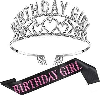 Chengu Birthday Girl Glitter Crown Rhinestone Crystal Decor Headband with Birthday Girl Sash