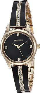 Armitron Women's 75/5208BKGPBK Swarovski Crystal Accented Gold-Tone and Black Bangle Watch