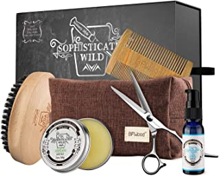 BFWood Beard Kit for Men Gift - Boar Bristle Beard Brush, Sandalwood Beard Comb, Mustache Scissors, Beard Balm, Beard Oil for Trimming Softening Shaping Conditioning Styling Set