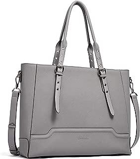 BOSTANTEN Women Briefcase Leather Laptop Shoulder Handbag Fit Up to 15.6 inch Tote Work Purses Cross-Body Bag Grey Grey Medium