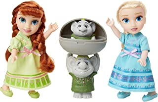 Disney Frozen Petite Anna & Elsa Dolls with Surprise Trolls Gift Set, Each doll is approximately 6 inches tall - Includes ...
