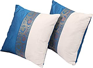 THE ART BOX Indian Cushion Cover Home Décor Indian Ethnic Throw Pillow Covers for Décor (Blue and Silver/Grey, 18x18 Set of 2)