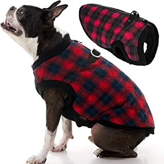 Gooby - Fashion Vest, Small Dog Sweater Bomber Jacket Coat with Stretchable Chest, Red Check, Medium