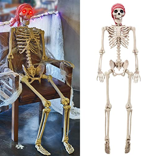 lowest yosager 5 ft Pose-N-Stay discount Life Size Skeleton with 2021 Glowing Eyes, Human Bones Full Body Realistic with Posable Joints, Pose Skeleton Prop for Halloween Decoration outlet online sale