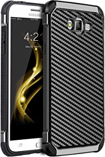 Galaxy Grand Prime Case, Galaxy J2 Prime Case, BENTOBEN 2 in 1 Hybrid Hard PC Cover Carbon Fiber Slim Shockproof Protective Phone Cases for Galaxy Grand Prime G530/J2 Prime/Grand Prime Plus, Black