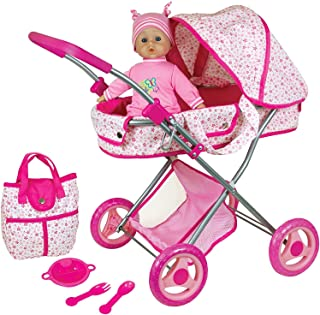 """Lissi Doll Pram with 13"""" Baby Doll & Accessories Role Play Toy"""