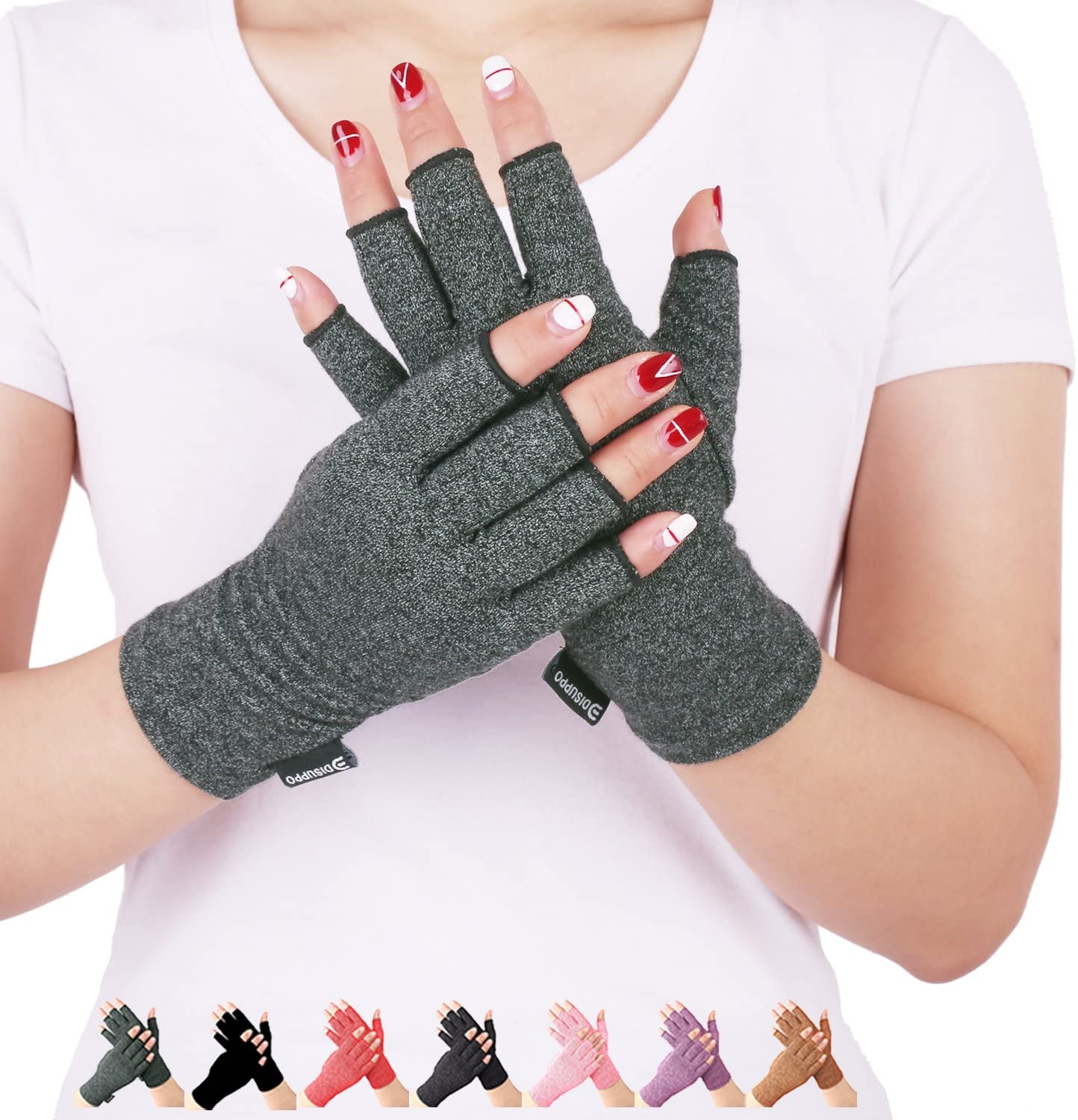 Arthritis Compression Gloves Relieve Pain from Rheumatoid, RSI,Carpal Tunnel, Hand Gloves Fingerless for Computer Typing and Dailywork, Support for Hands and Joints (Small, Grey)